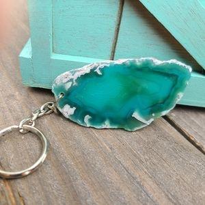 Agate Slice Keychain, Green